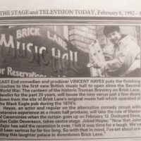 Vincent Hayes Opens in Brick Lane February 1992